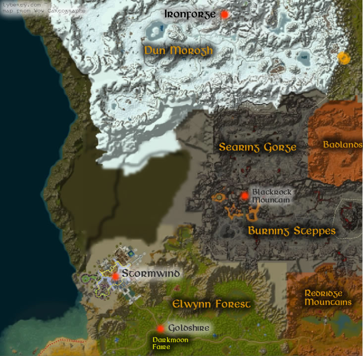 Warcraft: How to get to IronForge/Stormwind City from Darnus on