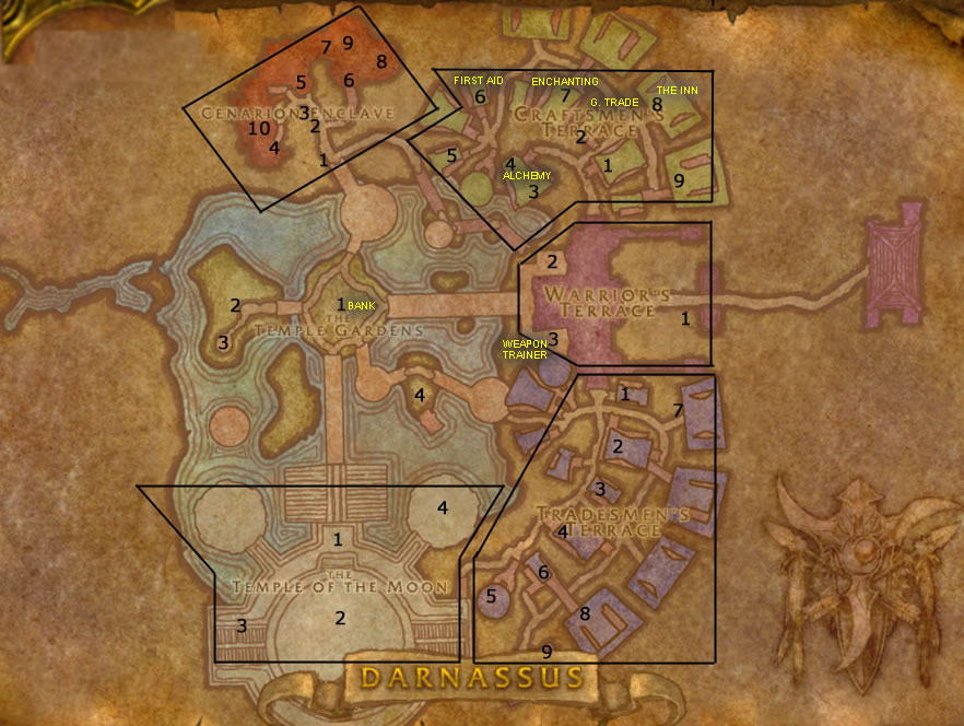 numbered map of darnassus npcs and vendors warcraft