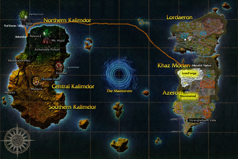 Warcraft: How to get to IronForge/Stormwind City from Darnassus